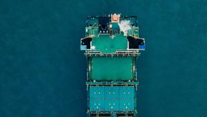 Cylinder head repairs ship birds-eye view stern