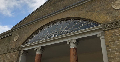 Side view of the wrought Iron fanlight restoration done at a stately home in Norfolk