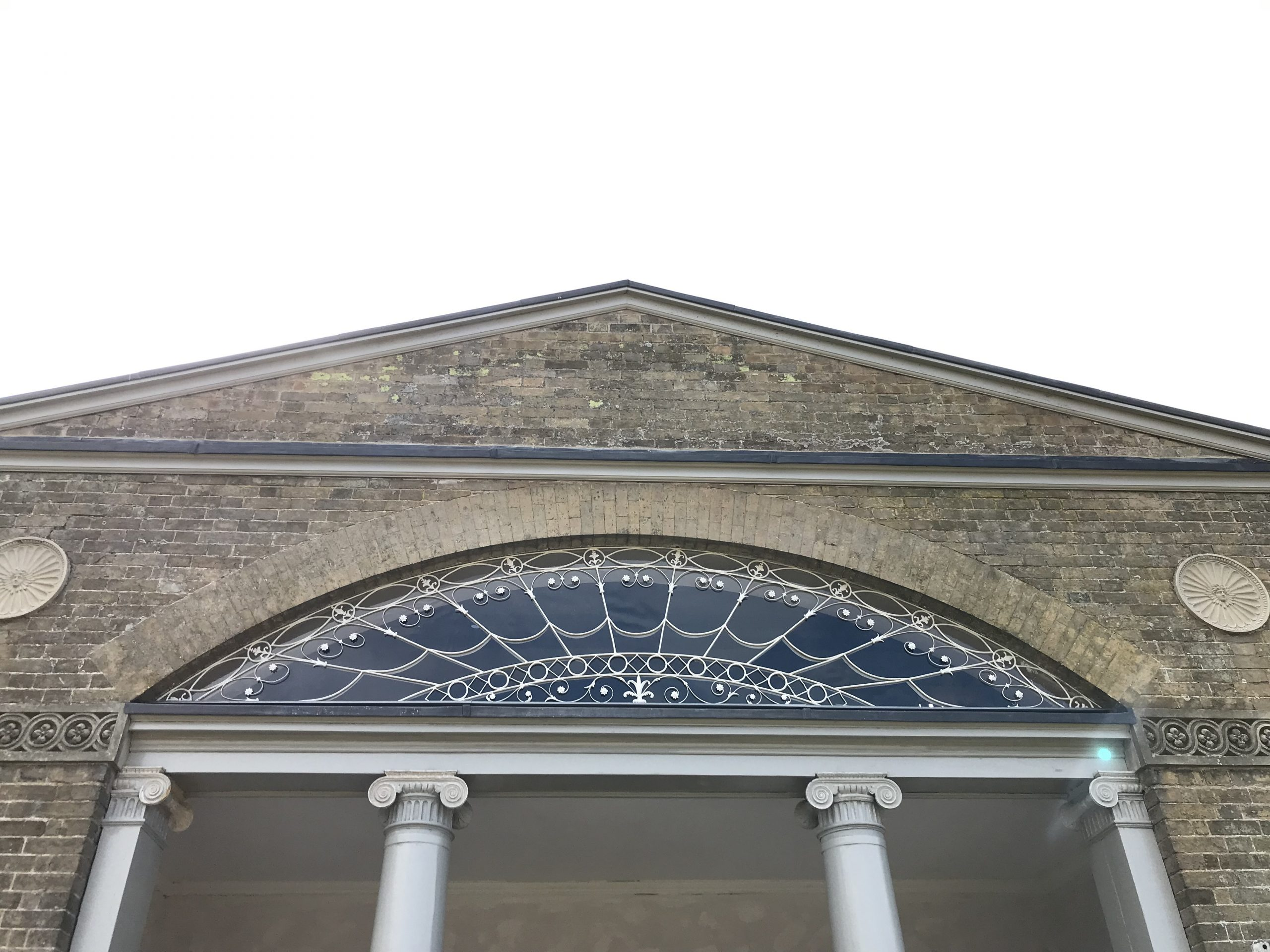 Front view of the wrought Iron fanlight restoration done at a stately home in Norfolk